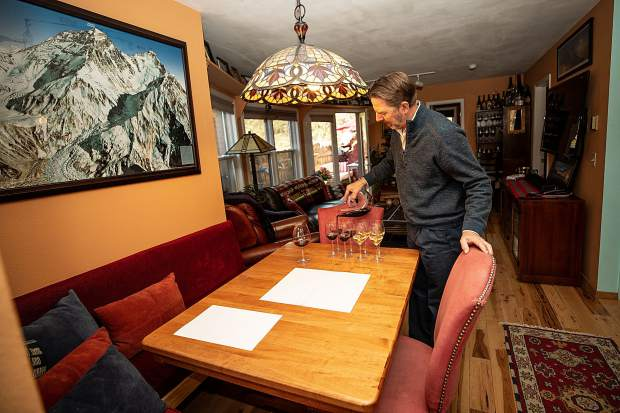 Master Sommelier Jay Fletcher mimics his wine courses at his home on Juan Street in Aspen.