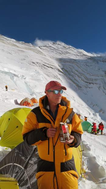 Tony Caine of Aspen hangs at Camp III on Mount Everest this May.