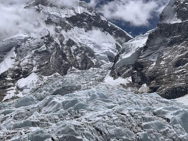 A view of Khumbu Ice Fall from Base Camp.