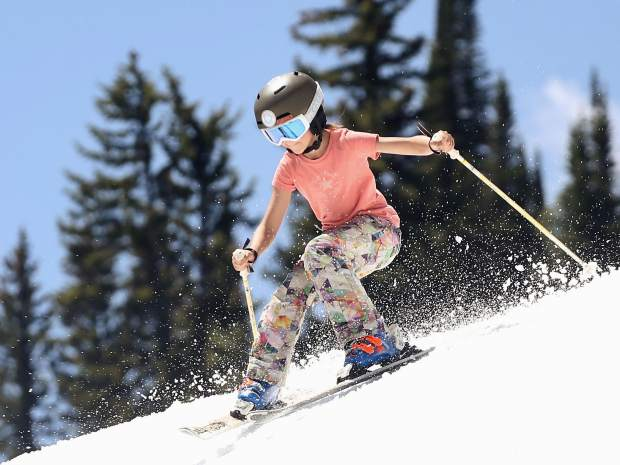 Mahlia Torres sticks her landing on Thursday, June 27, 2019, during the AVSC Glacier Camp at Buttermilk Ski Area. (Photo by Austin Colbert/The Aspen Times)
