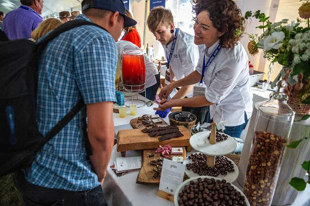 Gron founder and CEO Christine Smith doles out samples to a Grand Tasting guest.