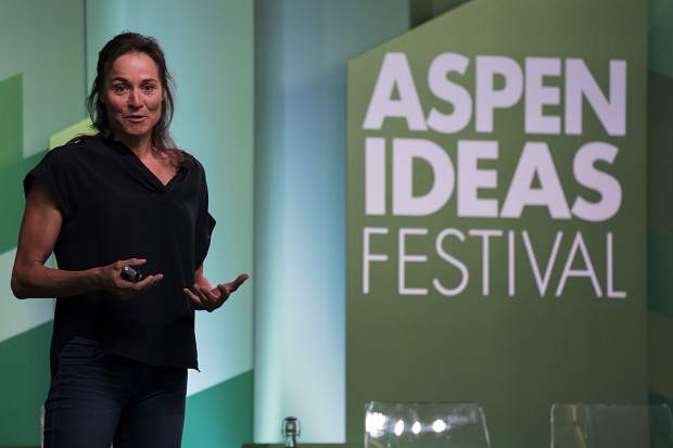 Skier Hilaree Nelson talks during a panel disucssion as part of Aspen Ideas Festival on Tuesday, June 25, 2019, at the Doerr-Hosier Center in Aspen.