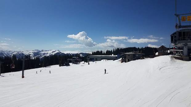 The top of Aspen Mountain on Sunday still had a solid base of snow. Skico officials will decide early this week if there will be another bonus weekend of skiing and riding.