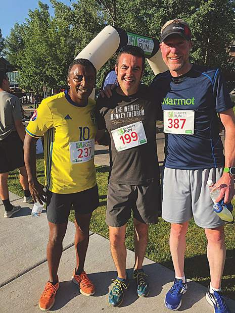 Celebrity chef Marcus Samuelsson, winemaker Ben Parsons and oenopile Steve Hagenlock at the Food & Wine Classic 5K.
