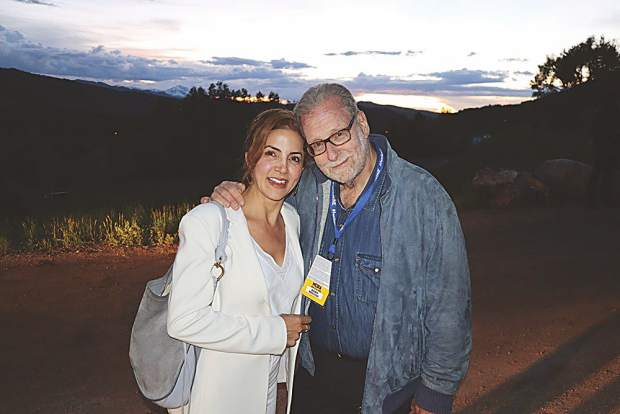 Emmy-award winning journalist Peter Greenberg with his favorite plus one at the Wine at the Mine party presented by Infinite Monkey Theorem at Smuggler Mine.