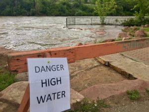 Barricades, warning signs put in place along Roaring Fork River in Glenwood Springs' parks