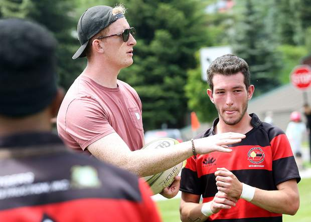 Gentlemen of Aspen Rugby Club coach Ben Mitchell talks to players during halftime as the team hosts Breckenridge on Saturday, June 29, 2019, at Rio Grande Park in Aspen. (Photo by Austin Colbert/The Aspen Times)