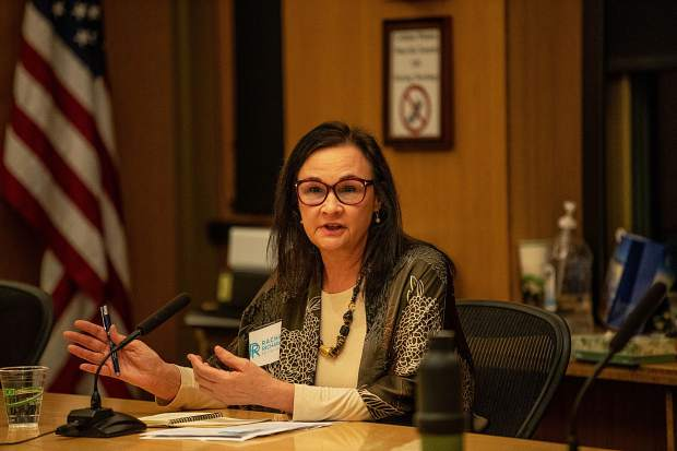Aspen City Council candidate Rachel Richards speaking at the Squirm Night at City Hall on Feb. 7, 2019.