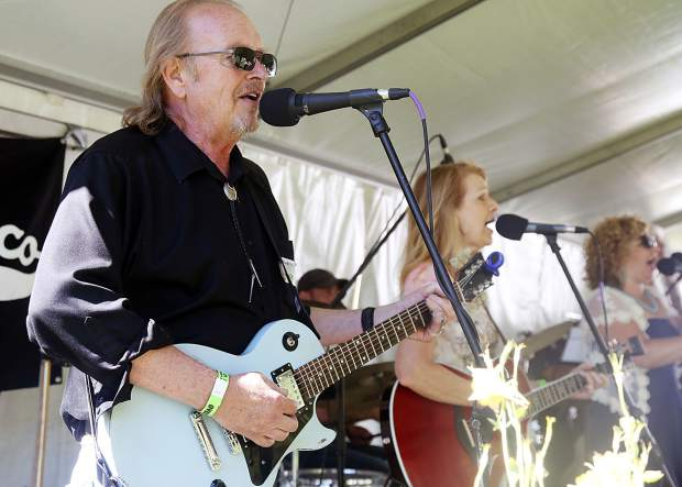A band plays at the T-Lazy-7 Ranch 80th anniversary hoedown on Saturday, June 8, 2019. (Photo by Austin Colbert/The Aspen Times)