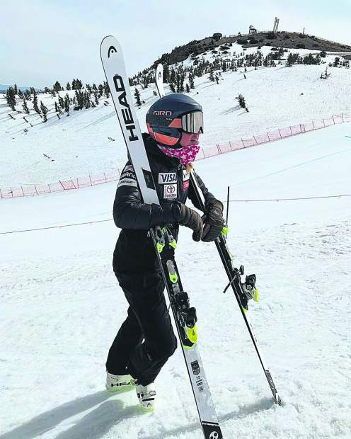 Alice McKennis has returned to snow this spring, freeskiing at Vail and participating in a U.S. Ski Team camp at Mammoth Mountain, California.