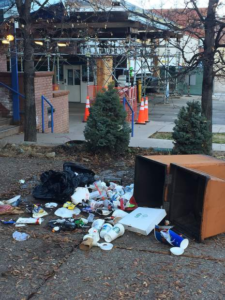 A bear got into the trash in front of Taster's Pizza this past spring.