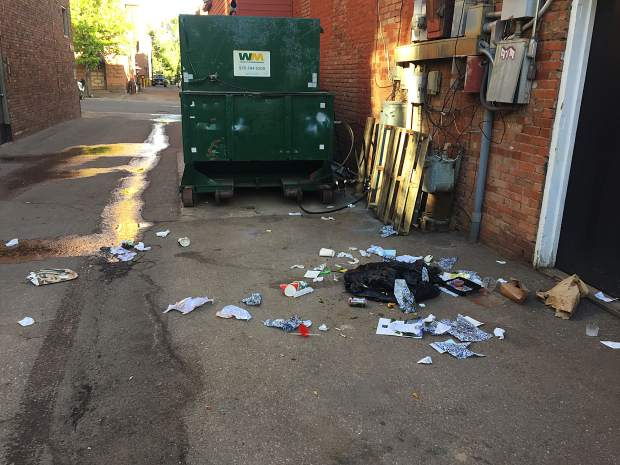 The remnants of bears breaking into unsecured trash cans in downtown Aspen is part of the landscape in the early mornings of spring, summer and fall.