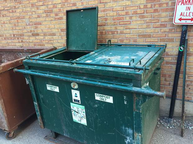 The compost container in the alley between Hyman and Hopkins avenue near multiple restaurants has been routinely left open in recent weeks. The business that is in charge of the container was fined last month for violating the city's trash ordinance because it's an attractant for bears.