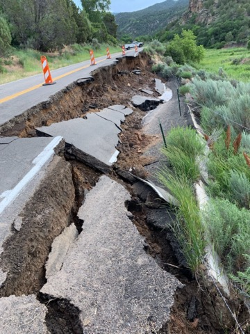 Part of highway north of Rifle washes out