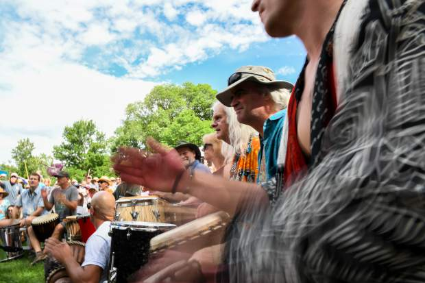 Drummers play at the 48th annual Carbondale Mountain Fair in July 2019. The Rhythm of the Heart Community Drum Circle played at the weekend fair.