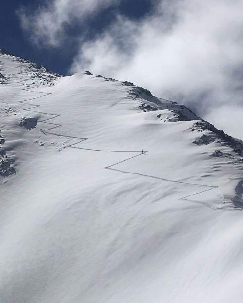 Chad Otterstrom of Breckenridge took this photo of a skin track in the backcountry.