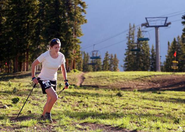 Aspen's Jessie Young approaches the top of Aspen Mountain during the Audi Power of Four 50k trail run on Saturday, July 13, 2019. (Photo by Austin Colbert/The Aspen Times)