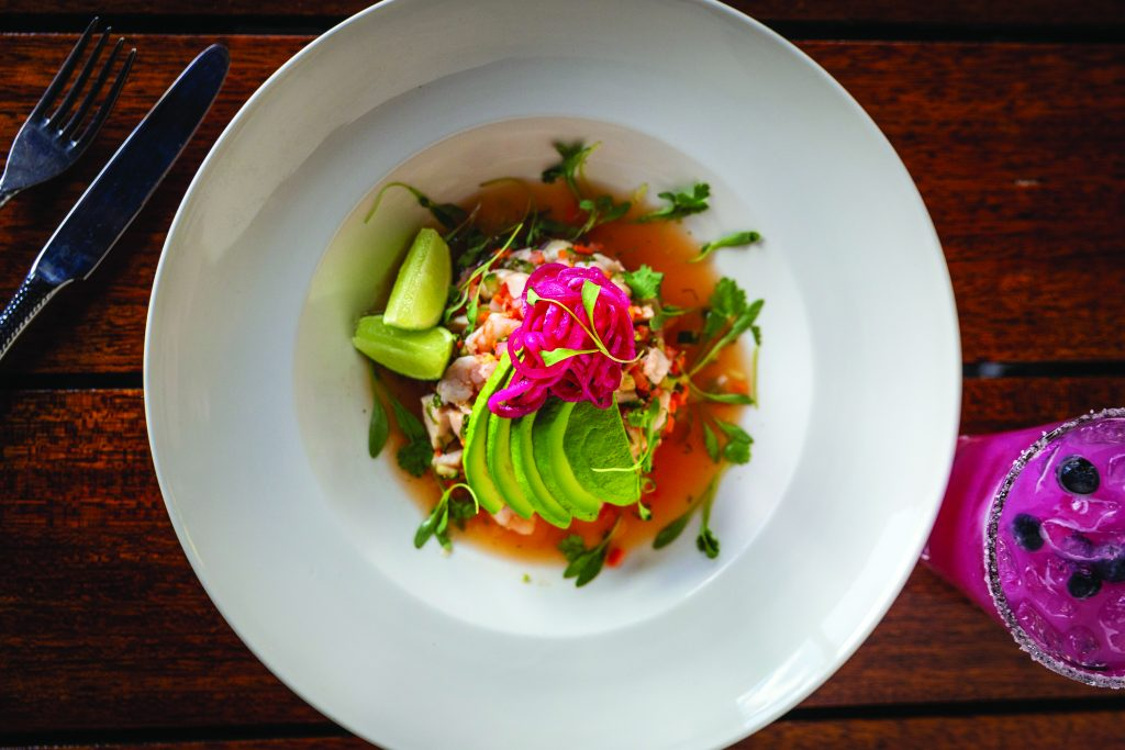The ceviche mixto is a refreshing treat when it's hot out. It's made Mexico City-style with plenty of fresh lime juice.