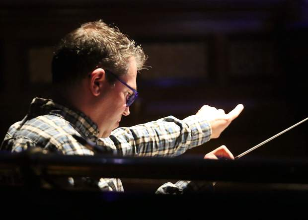 Conductor Andy Einhorn leads a dress rehearsal for the Aspen Music Festival and School's