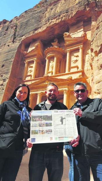 Aspen Times readers hold up their local newspaper of choice in front of the Treasury in Petra, Jordan. Pictured, from left to right, are Stephanie Madrid, Wendle Whiting and Dionicio Madrid.