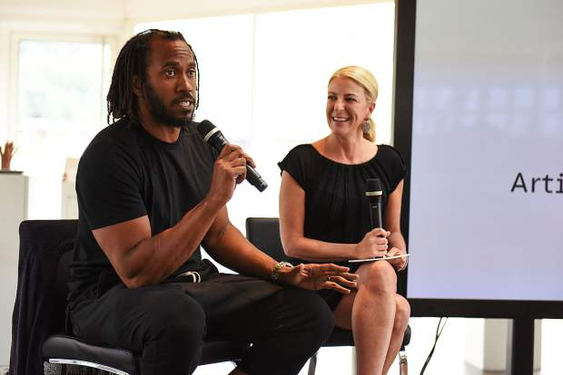 Artist Rashid Johnson with Aspen Art Museum director Heidi Zuckerman during an August 2018 talk at the museum. Johnson was honroed with the 2018 Aspen Award for Art and served as the museum's artist-in-residence for 2018-19.