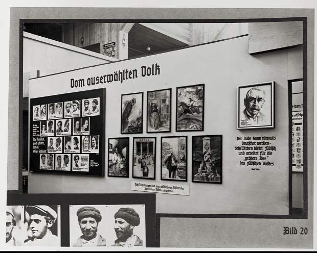 """The Miracle of Life"" show of 1935 was the second in a series of Nazi propaganda exhibitions held at the Kaiserdamm Hall in Berlin, located not far from Bayer's office in the fashionable Kufürstendamm district. Here the display shows different races of peoples, all of them being by degrees inferior to the Aryan."