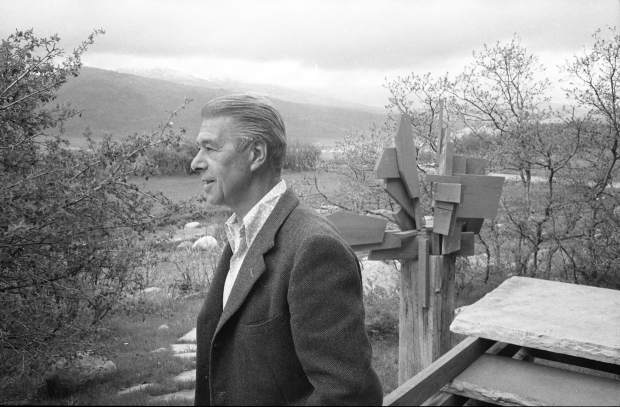 Herbert Bayer at his home on Red Mountain in 1965. Bayer settled in Aspen in 1946 to work with Walter Paepcke shaping the physical and cultural landscape of the new resort and former mining town. He lived here through the mid-1970s.