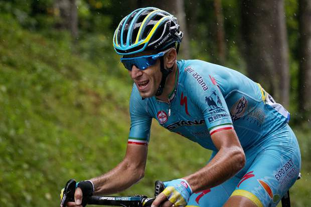 FILE - This Saturday, July 23, 2016 file picture shows Italy's Vincenzo Nibali riding during the twentieth stage of the Tour de France cycling race over 146.5 kilometers (90.7 miles) with start in Megeve and finish in Morzine-Avoriaz, France. Chris Froome's absence, coupled with the withdrawal of last year's runner-up Tom Dumoulin, has reshuffled the game and produced a long list of top contenders.(AP Photo/Peter Dejong, File)