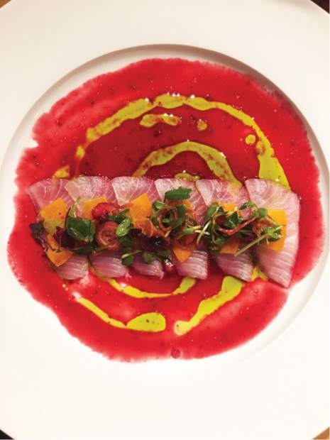 """Chef Taylor Hale's stunning sashimi dishes at Maru feature a rainbow of chiffonade """"salads"""" and garnishes plucked from his garden."""