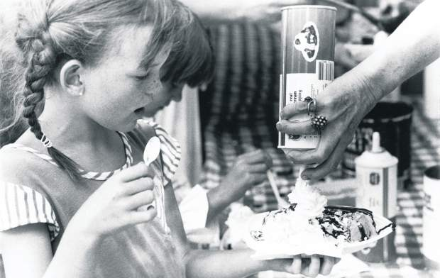 Tthe Aspen Historical Society's annual Ice Cream Social, photographed in 1983 in the Aspen Times.