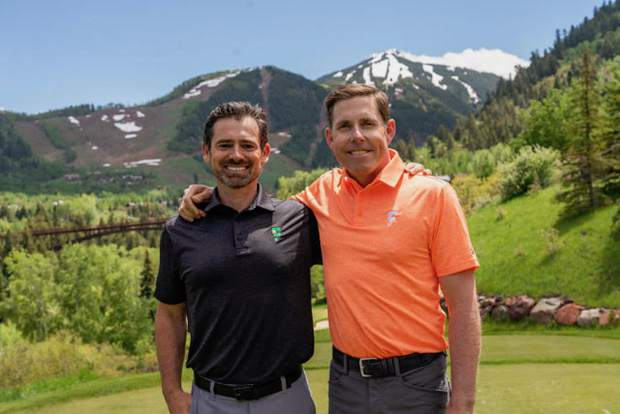 Dr. Jeremy James, left, and golfer Justin Leonard, who both live in Aspen, paired up to make an online exercise program for golfers called GolfForever.