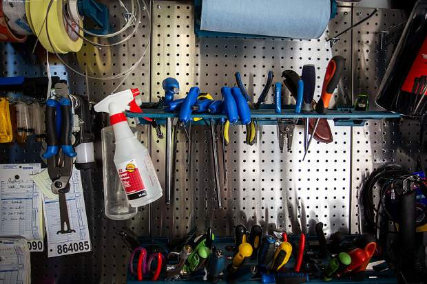 The tools of the trade in the Ride Aspen mobile repair trailer.