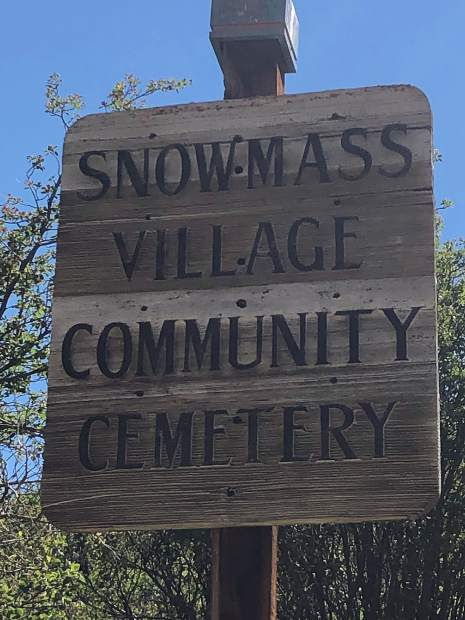 The sign for the Snowmass Village Community Cemetery.