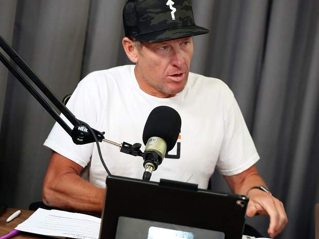 Lance Armstrong talks about the Tour de France during a recording of