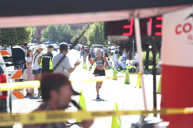 Houston's Jade Graham approaches the finish of the Aspen Valley Marathon on Saturday, July 13, 2019. (Photo by Austin Colbert/The Aspen Times)