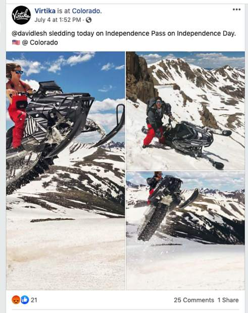 "In a July 4 Facebook post, the outdoor clothing company David Lesh founded, Virtika, posted three pictures of Lesh riding a snowmobile with the caption ""@davidlesh sledding today on Independence Pass on Independence Day."""