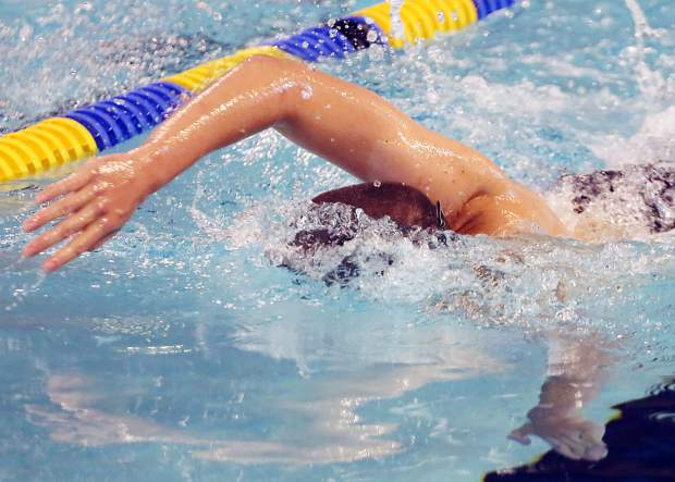 Aspen Swim Club athletes practice on Wednesday, July 24, 2019, at the Aspen Recreation Center. (Photo by Austin Colbert/The Aspen Times)