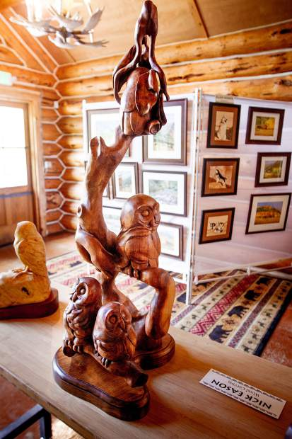Artwork on display at Ashcroft Ski Touring's King Cabin.