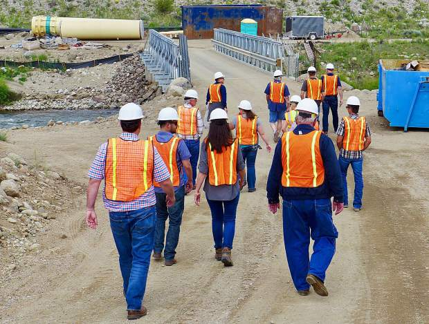 Participants in a CWCB tour, open to the public, of a new water infrastructure on the Arkansas River on Tuesday. The tour included CWCB staff and board members.