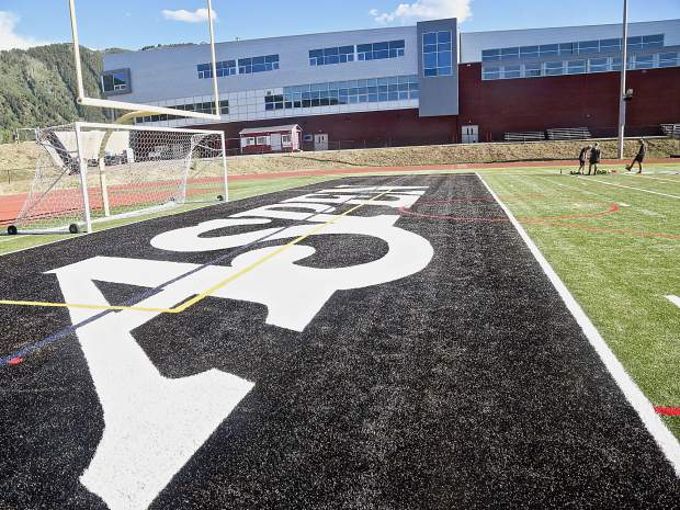 The new Aspen School District turf field on Tuesday, Aug. 20, 2019. (Photo by Austin Colbert/The Aspen Times)