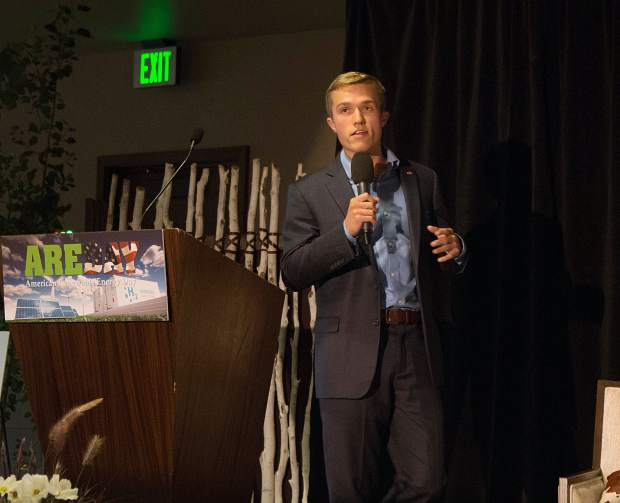 Benji Backer, founder of the American Conservation coalition, speaks to AREDay attendees Thursday afternoon.