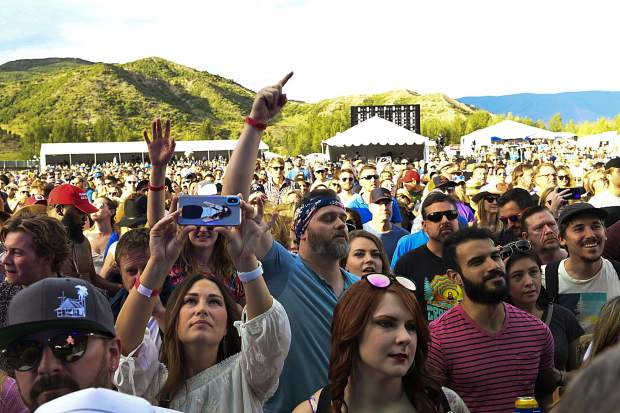 Opening night crowd listens to Portugal. The Man on Friday during the JAS Labor Day Experience in Snowmass Village.