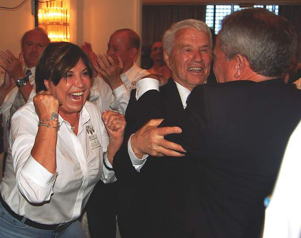 Sheika and Pepi Gramshammer celebrate with John Garnsey when it was announced that Vail/Beaver Creek landed the 2015 World Alpine Ski Championships.
