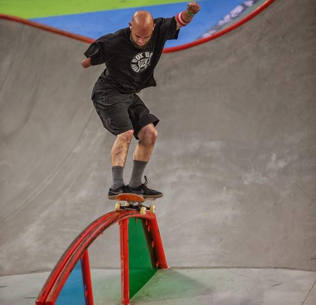 Frisco resident Mike Minor takes to a rainbow rail en route to a bronze medal at the inaugural X Games skateboard park event Saturday evening in Minneapolis.