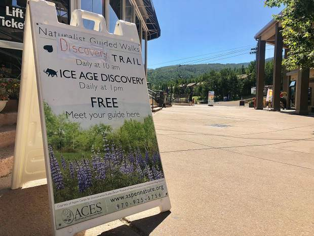 A sign outside the Snowmass Pavillion on the mall advertising the ACES naturalist-guided hikes, offered daily until Labor Day. After the holiday weekend, the hikes will take place on weekends until the end of Sept.