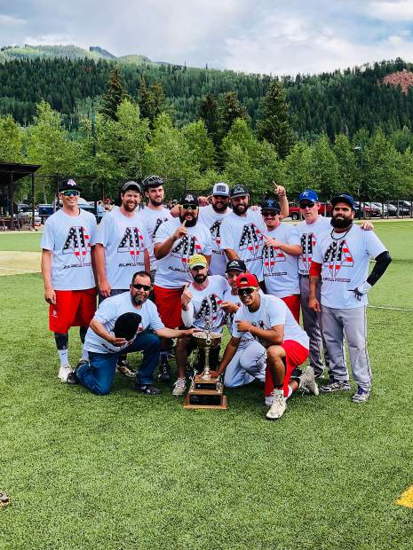 Members of the St. Moritz softball team were all smiles after winning the championship of the 2019 Aspen Men's Recreation Competitive League.