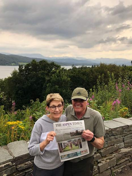 Alana Spiwak and Sam Stolbun enjoy The Aspen Times after a day's hike in the Lake District National Park in Cumbria, U.K. The two are pictured at Lake Windermere. Email your