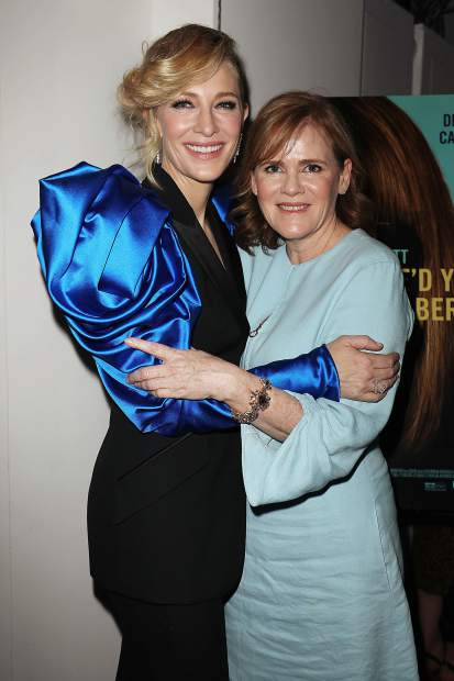 Author Maria Semple, right, with Cate Blanchett at the New York premiere of