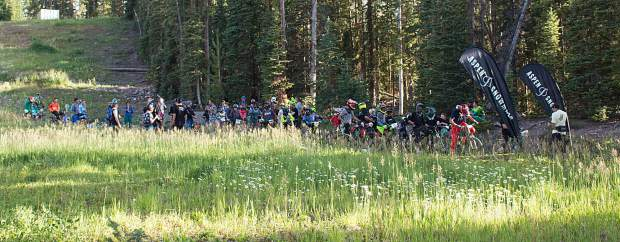 Dozens of bikers line up for the start of the Snowmass Bike Park race series on Aug. 13. It was the last of a six-race series held on Tuesdays from July to August.