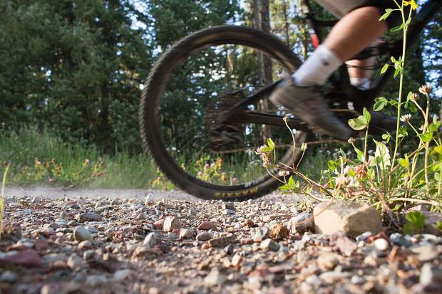 A rider pedals in the Snowmass Bike Park on Aug. 13.